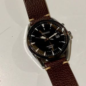 Seiko Kinetic Watch SKA569 42mm New Leather Strap